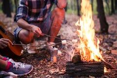 Saucisses frites par couples sur le feu Images libres de droits