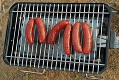 Saucisses grillées au camp images libres de droits