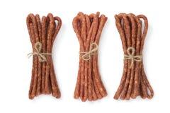 Saucisses minces polonaises de Kabanosy dans trois saveurs différentes photographie stock libre de droits