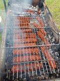 Saucisses sur un gril Image stock