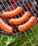 Saucisses sur un trellis Images stock