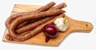 Saucisses traditionnelles frais faites Photo libre de droits