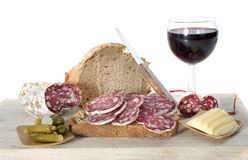Saucisson, bread and butter Stock Photography