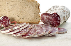 Saucisson and bread Royalty Free Stock Photography