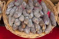 Saucisson oder Salami Stockbild