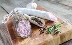 Saucisson and spanish salami Royalty Free Stock Photography