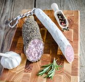 Saucisson and spanish salami Stock Image