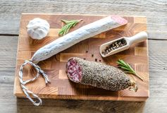 Saucisson and spanish salami Royalty Free Stock Images