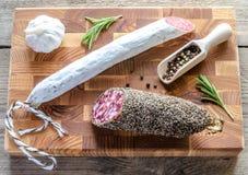 Saucisson and spanish salami Stock Photo