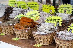 Saucisson. Stall in french market Royalty Free Stock Image