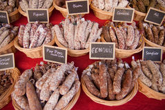 Saucisson stall in a French market Royalty Free Stock Photography