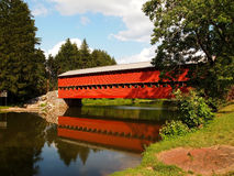 Sauck's Covered Bridge And Reflection Stock Photos