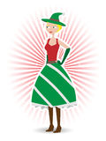 Saucy christmas elf standing vector illustration. Happy Elf female in red and green dress with boots, ray beam background Stock Images