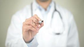 Saudável, escrita do doutor na tela transparente vídeos de arquivo