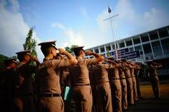 Saudação da marinha a bandeira Fotos de Stock