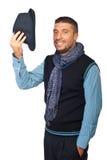 Saudação do homem moderno com chapéu fora Imagens de Stock
