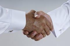 Saudi Arab Businessmen Hands Shaking, Making Agreement and Welco. Ming Closeup Royalty Free Stock Photo