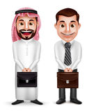 Saudi arab man and a businessman vector characters holding briefcase Stock Images