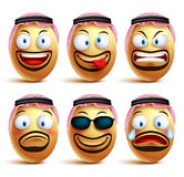 Saudi arab man egg faces set of vector wearing agal and ghutrah or head dress Royalty Free Stock Photo