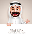 Saudi arab man vector character happy smiling holding white blank board Royalty Free Stock Image