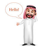 Saudi arab man vector character holding mobile phone calling. With hello speech bubbles  in white background. Vector illustration Stock Photo
