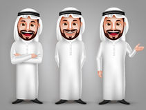Saudi arab man vector character set with different friendly gesture Stock Photos