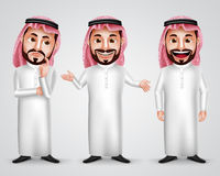 Saudi arab man vector character set wearing thobe and gutra Stock Photography