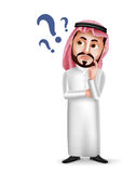 Saudi arab man vector character wearing thobe with confused or thinking. Facial expression  in white background. Vector illustration Stock Photography