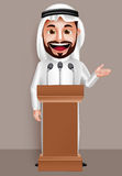 Saudi arab man vector character wearing thobe with a happy smile Stock Photography