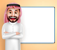 Saudi arab man vector character wearing thobe speaking with blank white board Stock Photo