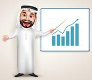 Saudi arab man vector character wearing thobe teaching chart graph. Professional Saudi arab man vector character wearing thobe teaching chart graph in white Stock Image