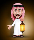 Saudi Arab Man Wearing Thobe Holding Lantern for Ramadan Stock Photos