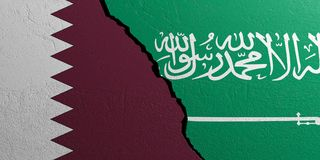 Saudi Arab and Qatar flags, plastered wall background. 3d illustration. Saudi Arab and Qatar relationship. Flags on plastered wall background. 3d illustration vector illustration