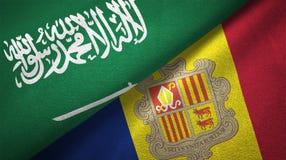 Saudi-Arabië en Andorra twee vlaggen textieldoek, stoffentextuur stock illustratie