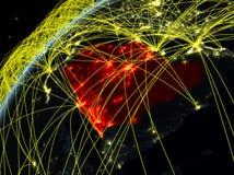 Saudi-Arabië ter wereld met netwerk stock illustratie