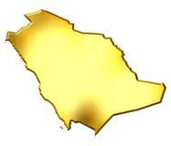 Saudi Arabia 3d Golden Map Stock Image