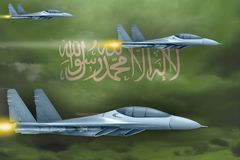Saudi Arabia air forces strike concept. Air planes attack on Saudi Arabia flag background. 3d Illustration. Saudi Arabia air strike concept. Modern war airplanes Stock Photography