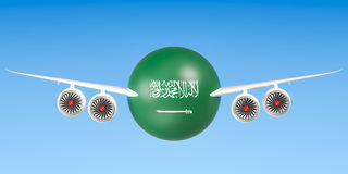 Saudi Arabia airlines and flying`s concept. 3D rendering Royalty Free Stock Image