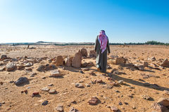 Saudi Arabia. Al Jouf, the Rajajil archaeological site with the prehistoric standing stone royalty free stock photo