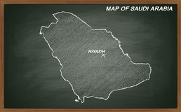Saudi Arabia on blackboard Royalty Free Stock Images