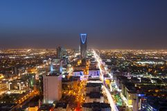 Riyadh skyline at night, showing kingdom tower Stock Images