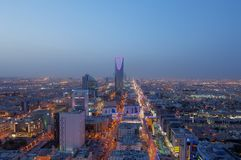 Riyadh skyline at night, showing kingdom tower Stock Photography
