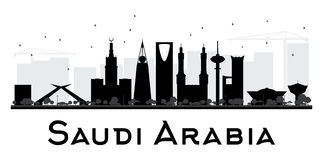 Saudi Arabia City skyline black and white silhouette. Vector illustration. Simple flat concept for tourism presentation, banner, placard or web site. Business stock illustration