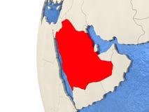 Saudi Arabia on 3D globe Stock Photos