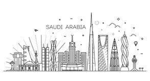 Saudi Arabia detailed Skyline. Travel and tourism background royalty free illustration