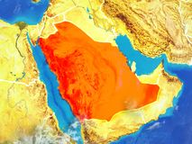 Saudi Arabia on Earth from space. Saudi Arabia from space on model of planet Earth with country borders. Extremely fine detail of planet surface and clouds. 3D stock illustration