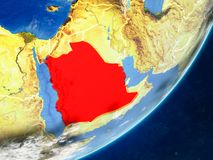 Saudi Arabia on Earth from space. Saudi Arabia on model of planet Earth with country borders and very detailed planet surface and clouds. 3D illustration stock illustration