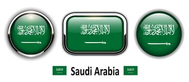 Saudi Arabia flag buttons. 3d shiny vector icons vector illustration