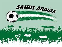 Saudi Arabia flag colors with soccer ball and Arab supporters si. Lhouettes. All the objects, brush strokes and silhouettes are in different layers and the text Royalty Free Stock Photos