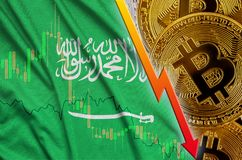 Saudi Arabia flag and cryptocurrency falling trend with many golden bitcoins. Concept of reduction Bitcoin in price or bad conversion in cryptocurrency mining stock illustration